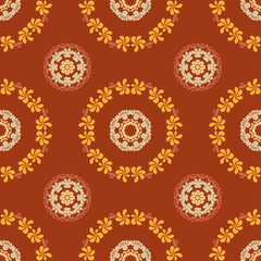 Ornate seamless floral pattern on brown background.