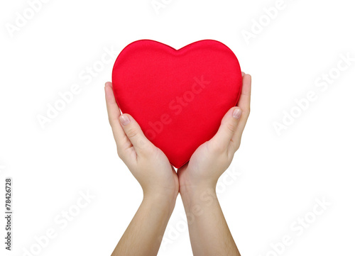 canvas print picture Red heart in hand