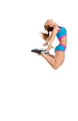 Image of happy female athlete jumps high