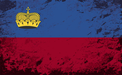 Liechtenstein flag. Grunge background. Vector illustration
