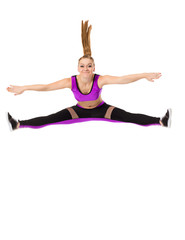 Image of funny fitness girl posing in jump