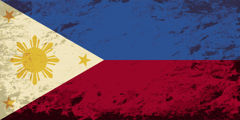 Philippines flag. Grunge background. Vector illustration