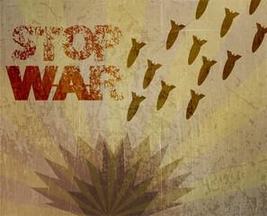 illustration Stop war, a mortar attack.