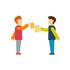 Two male employee enjoy drinking beer