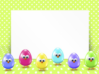 easter eggs and white blank over dotted background