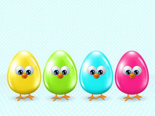 easter cartoon eggs staying in row with place for text