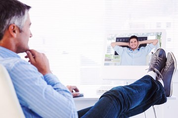 Composite image of cheerful creative business employee resting