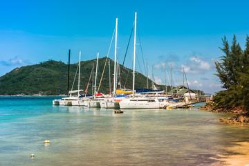 Yachts Marina at Praslin island Seychelles