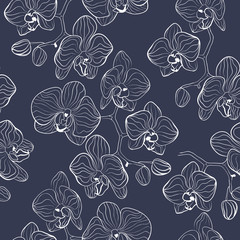 Seamless flower pattern with orchids phalaenopsis background