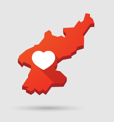 North  Korea map with a heart