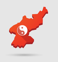 North  Korea map with a ying yang