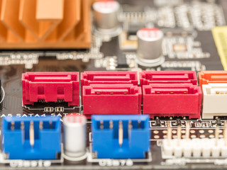 Serial ATA Connectors On Computer Motherboard