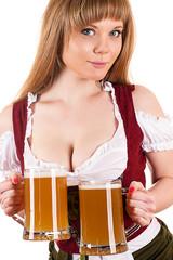 beautiful sexy waitress Oktoberfest with beer
