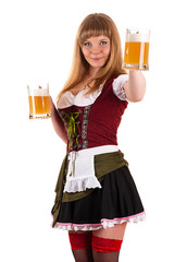 Oktoberfest waitress with a beer in hand