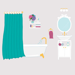 Set of vector bathroom and personal hygiene icons