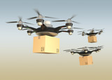 Air drones carrying cardboard boxes for fast delivery concept
