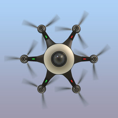 Bottom view of a hexacopter with surveillance camera