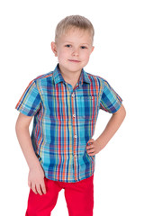 Handsome little boy in the red pants