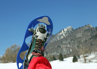 modern snowshoe in the mountain