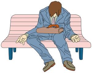 お疲れビジネスパーソン-公園のベンチで居眠りする男性会社員