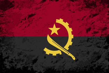 Angolan flag. Grunge background. Vector illustration