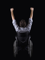 Men in a wheelchair,of backs and with the arms raised