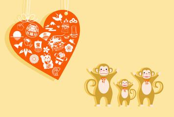 サルのカップルと桜