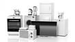 Leinwanddruck Bild - Group of home appliances isolated on white background.