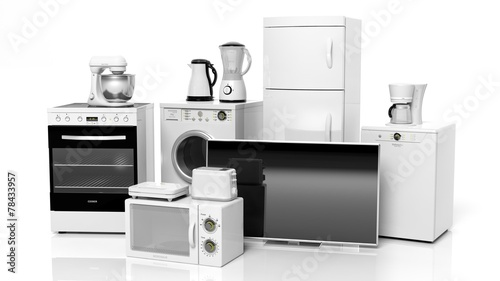 Group of home appliances isolated on white background. - 78433957