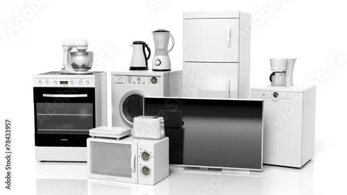 Leinwanddruck Bild Group of home appliances isolated on white background.