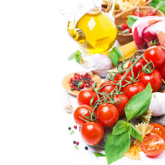 Italian food ingredients - cherry tomatoes, basil and pasta