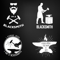 Vintage blacksmith badges and design elements for T-shirts