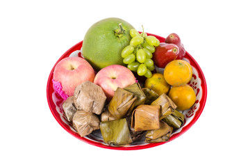 assorted fruit, Dessert on tray for Chinese new year celebration