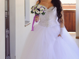Bride Walking with Bouquet