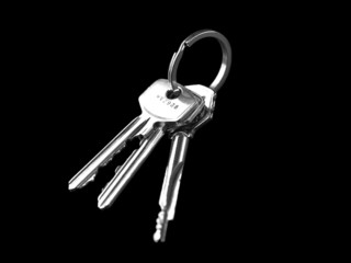Keys isolated on black background