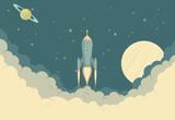 Retro Rocket Spaceship - 78436334