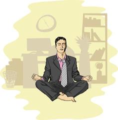 businessman in lotus pose meditating