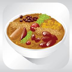 Ashura. Traditional Turkish dessert. Vector illustration.