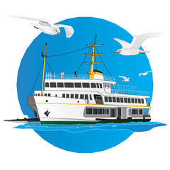 Turkish Liner with istanbul silhouette. Vector illustration.