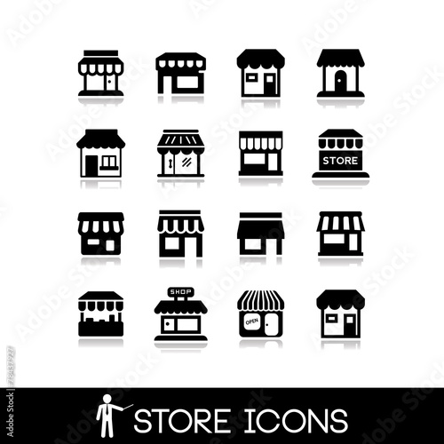 Fototapeta Store icons.Commercial symbol. Shop icons.