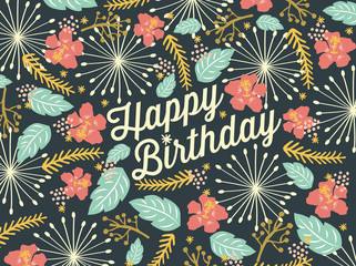 Happy Birthday card with floral background pattern