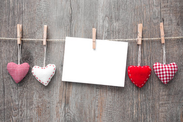 Message and red hearts on the clothesline