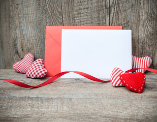 Envelope with red hearts for valentine day