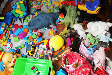 giant mess in child's room