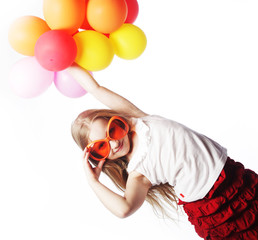 girl with balloons and orange sunglasses