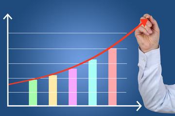 Businessman beim zeichnen von Business Finanzen Erfolg Wachstum