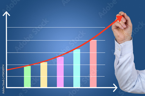 Poster Businessman beim zeichnen von Business Finanzen Erfolg Wachstum