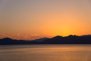 Sunset of the Lake Tazawa in Semboku, Akita, Japan
