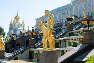 Golden statues in Peterhof Palace