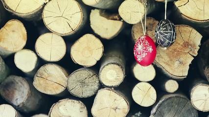 Easter traditional egg hanging